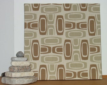 "Sale! Fabric Wall Hanging of Retro Midcentury Modern Originally Screenprinted Artist Fabric 20"" x 20"" x 1 3/4"" deep"