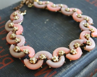 Vintage BSK Choker Necklace in Pinks and Lavendar