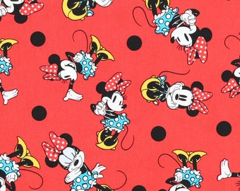 Minnie Mouse Polka Dots Fabric By The Yard FBTY 1 yard