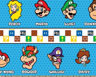 Nintendo Super Mario Borthers Stripes Fabric By the Yard