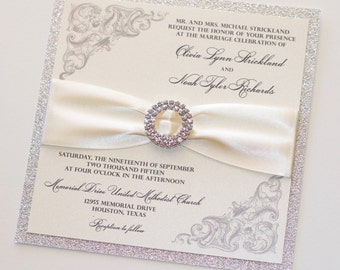 Romantic Wedding Invitation - Elegant Wedding Invitation - Glitter Wedding Invitation, Ivory Silver Glitter - Neutral Wedding Olivia Sample