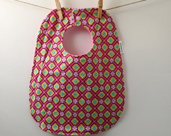 Pink and Teal Aztec Print Baby Bib - Oversize Baby Bib with Snaps