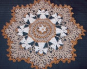 """Doily, circle of Angels, done in metallic crochet thread,  14"""""""