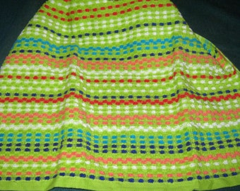 Crochet Kitchen Hanging Towel, microfiber, bright green, colorful stripes