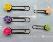 Set of 5 Resin Flower Paper Clips- Planner Bookmarks