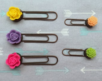 Set of 5 Resin Flower Paper Clips