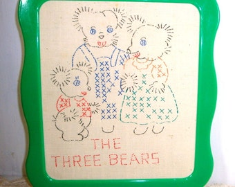 The Three Bears, Fairy Tale, Cross Stitch, Embroidery, Unfinished Painted Design, Green Plastic Frame, Child's Room Decor, DIY  (798-15)