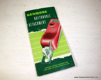 Vintage Kenmore Buttonhole Attachment Guide Book, Mid Century Sewing Machine Reference, Instructional Howto