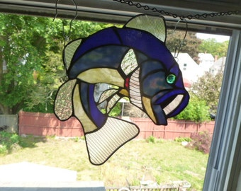 Large Mouth Bass in blues  Bass Suncatcher Stained Glass