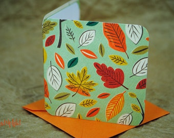 Blank Mini Card Set of 10, Falling Leaves Pattern with Contrasting Ledger Design on the Inside, Pale Tangerine Envelopes, mad4plaid