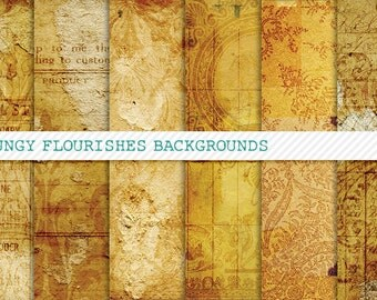 Grungy Flourishes Background Papers