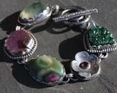malachite druzy, rhodolite garnet, ruby in fuchsite, corundum ruby, prehnite and sterling silver metalwork link bracelet