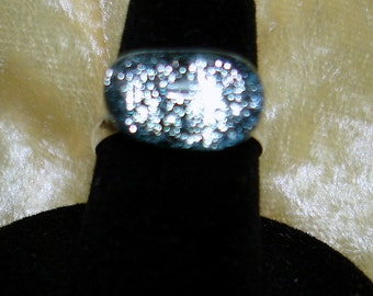 Silver Sparkly Handmade Fused Dichroic Glass Cab Ring - R107