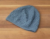 Womens Crochet Beanie - Boho Lace Hat - Skullcap - Dark Gray Tam