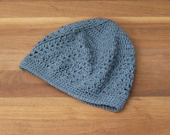 Crochet Beanie - Kufi - Boho Lace Hat - Skull Cap - Summer Beanie - Dark Gray