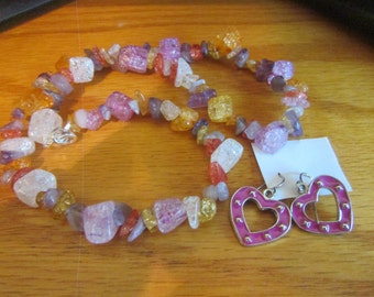 girly glass beaded necklace and heart dangles