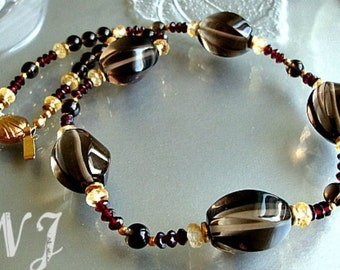 Smoky quartz, garnet and citrine necklace. Smoky Quartz Necklace.