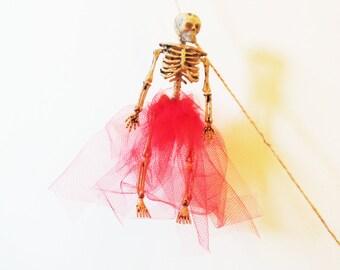 Dressed Skeleton Garland, Custom Colors Halloween Banner Decoration, Skeletons with Tutus, Goth Wedding, Ballerina Skeleton
