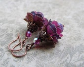 Flower Earrings with Pink and Purple Vintage Enameled Flowers, Crystal, and Antique Copper