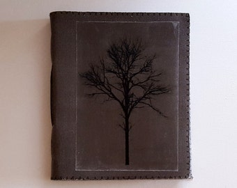 SALE tree of strength mid-size journal - waxed gray canvas journal