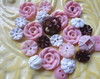 Vintage Buttons - Cottage chic mix of pink, white and brown, lot of 23 old and sweet( june61c)
