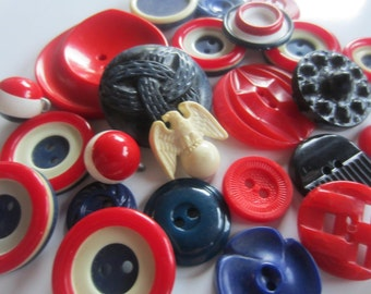 Vintage Buttons - Cottage chic mix of red, white and blue lot of 24, old and sweet (sept 231)