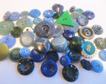 Vintage Buttons - Cottage chic mix of blue and green lot of 53, old and sweet (sept 284)