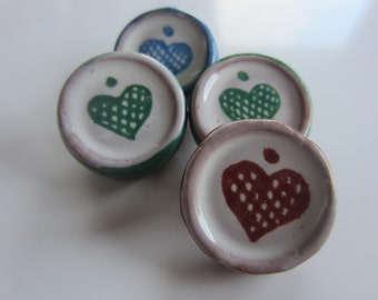 Vintage Button -ceramic/ pottery, handmade heart buttons, lot of 4 ( oct 70)