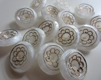 Vintage buttons, 14 beautiful matching medium size white milk glass glass, hand painted gold flower design (feb 18)