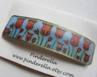 Flower botanical barrette tulips in red and blue
