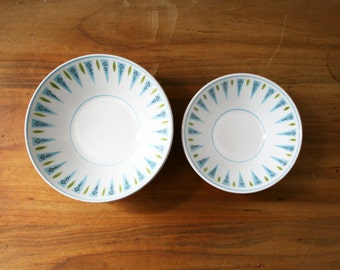 vintage 1960s Mikasa Cera Stone Blue Point Midcentury Set of 3 Dessert Bowls & 4 Salad Bowls