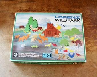 vintage 70s Lorenz Wildpark Wooden Animals Trees & Cabin House NIP Play Set 4252