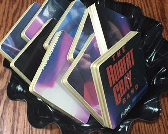 The Robert Cray Band wood coasters & record bowl created from recycled False Accusations album cover