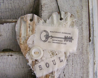 Shabby White Decor  Heart Ornament Vintage Key Collage Vintage Mixed Media Cottage Style Heart Wall Hanging Antique Paper Heart Ornament