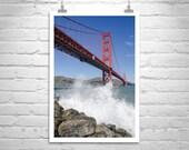 Golden Gate Bridge, Fine Art Photography, San Francisco, California, Black and White, Marin County, Ocean Waves