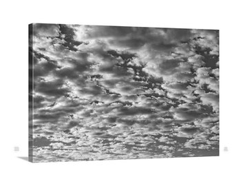Clouds Art, Giclee Canvas Print, Sky Art, Nature Photography, Black and White, Abstract Art, Cloud Photographs, Gallery Wrap, Canvas Print