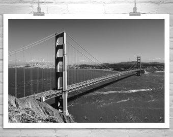 Golden Gate Bridge Photograph, Black and White, San Francisco, California Art, Cityscape, Seascape, Marin County, Canvas Art, MurrayBolesta