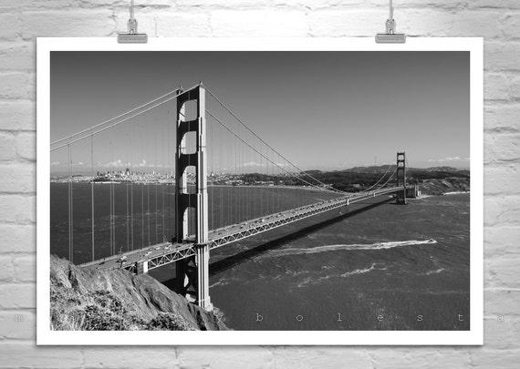 Golden Gate Bridge Photograph, Black and White, Art Photography, San Francisco, Cityscape, California Art, Seascape, Marin, MurrayBolesta