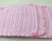 Buttons and Beads set of four pink 100 percent cotton hand crocheted coasters