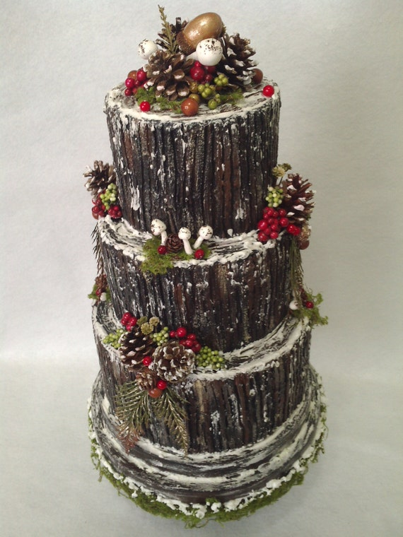 items similar to christmas centerpiece buche de noel wedding yule log cake woodland cake. Black Bedroom Furniture Sets. Home Design Ideas
