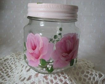 Glass Storage Jar with Pink Lid Hand Painted Pink Roses Bath Kitchen storage
