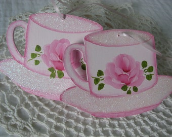 Teacup Ornaments Hand Painted Pink Rose, Glitter Set of 2