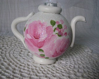 White Teapot Ornament Hand Painted Chic Pink Roses Glitter Shabby Christmas