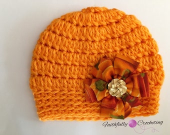 Newborn fall hat... Fabric flower hair clip.. Photography prop m.. Ready to ship