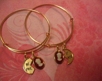 Two Best Friends Bangle Bracelets with Cameo for Friends or Sisters