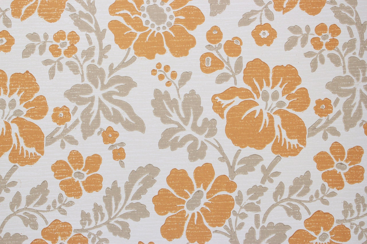 1960s vintage wallpaper retro orange flowers on white by the. Black Bedroom Furniture Sets. Home Design Ideas