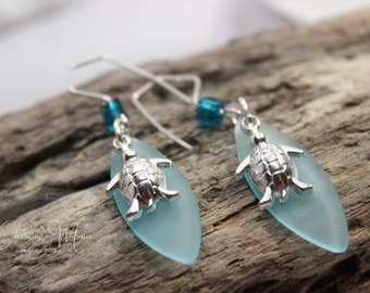 Sea Glass Jewelry Turquoise Bay Sea Turtle Dangle Earrings -  LIMITED EDITION