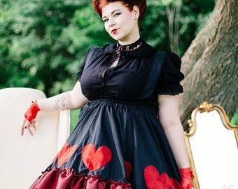 SAMPLE Queen of Hearts Dress - Adult Halloween Costume - Alice in Wonderland- Red Queen -READY to Ship Large