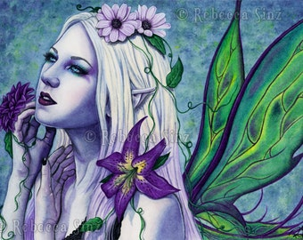 Seelie PRINT Fairy Art Fantasy Light Spring Flowers Purple Green Portrait Wings Gothic Fairy Court Watercolor 3 SIZES