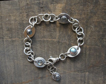 Double-sided labradorite and handmade chain bracelet by teresamatheson